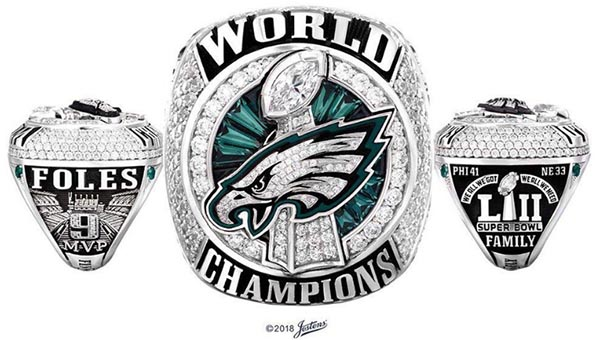 Philadelphia Eagles' First-Ever Super Bowl Rings Soar With 219 Diamonds and 17 Green Sapphires